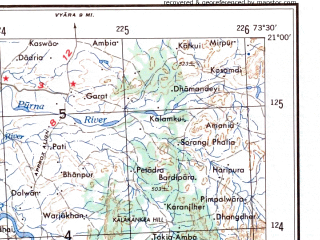 Reduced fragment of topographic map en--ams--250k--nf43-13--(1956)--N021-00_E072-00--N020-00_E073-30; towns and cities Bilimora, Daman, Deodongra