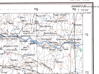 Reduced fragment of topographic map en--ams--250k--nf43-15--(1956)--N021-00_E075-00--N020-00_E076-30; towns and cities Amdapur, Mahur, Bhadgaon