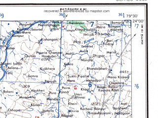 Reduced fragment of topographic map en--ams--250k--nf44-01--(1956)--N024-00_E078-00--N023-00_E079-30; towns and cities Silvani, Gairatganj, Taradehi