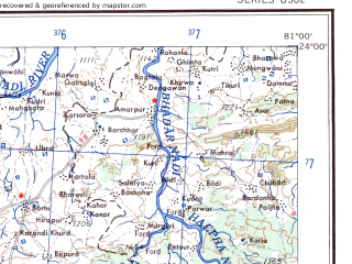 Reduced fragment of topographic map en--ams--250k--nf44-02--(1956)--N024-00_E079-30--N023-00_E081-00; towns and cities Belkharu Kalan, Rithi, Shahpura