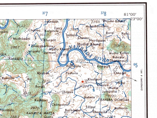 Reduced fragment of topographic map en--ams--250k--nf44-06--(1956)--N023-00_E079-30--N022-00_E081-00; towns and cities Chiraidongri, Choura, Mohgaon