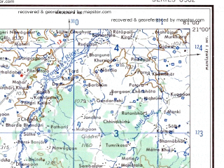 Reduced fragment of topographic map en--ams--250k--nf44-14--(1956)--N021-00_E079-30--N020-00_E081-00; towns and cities Adyal, Malewara, Wairagarh