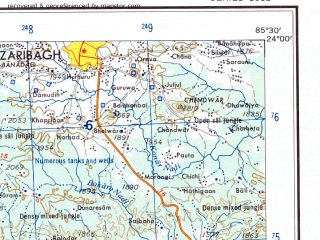 Reduced fragment of topographic map en--ams--250k--nf45-01--(1956)--N024-00_E084-00--N023-00_E085-30; towns and cities Netarhat, Ormanjhi, Karra