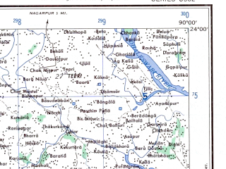Reduced fragment of topographic map en--ams--250k--nf45-04--(1956)--N024-00_E088-30--N023-00_E090-00 in area of Fatki; towns and cities Bakunda, Kushtia, Chakdaha