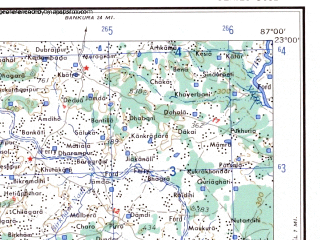 Reduced fragment of topographic map en--ams--250k--nf45-06--(1956)--N023-00_E085-30--N022-00_E087-00; towns and cities Dahijuri, Majhagaon, Damribera