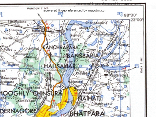 Reduced fragment of topographic map en--ams--250k--nf45-07--(1956)--N023-00_E087-00--N022-00_E088-30; towns and cities Calcutta, Panskura, Chandpur, Tamluk