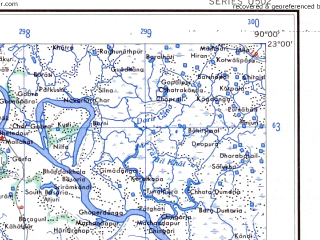 Reduced fragment of topographic map en--ams--250k--nf45-08--(1956)--N023-00_E088-30--N022-00_E090-00 in area of Raimangal, Bay Of Bengal; towns and cities Pakgacha, Pirojpur, Port Canning