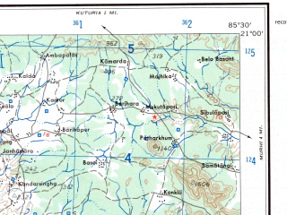 Reduced fragment of topographic map en--ams--250k--nf45-13--(1956)--N021-00_E084-00--N020-00_E085-30; towns and cities Phulbani, Goyagonda, Raikia