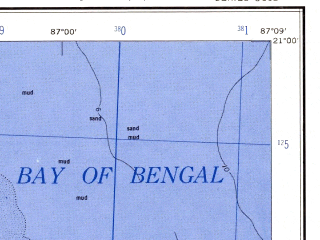 Reduced fragment of topographic map en--ams--250k--nf45-14--(1956)--N021-00_E085-30--N020-00_E087-09 in area of Brahmani, Bay Of Bengal; towns and cities Kanas, Ratanpur, Bankigarh