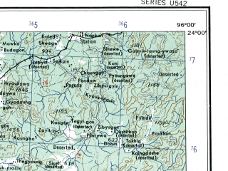 Reduced fragment of topographic map en--ams--250k--nf46-04--(1956)--N024-00_E094-30--N023-00_E096-00; towns and cities Pyingaing, Pyinth, Kyunbyintha