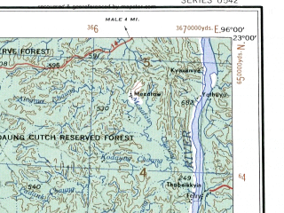 Reduced fragment of topographic map en--ams--250k--nf46-08--(1956)--N023-00_E094-30--N022-00_E096-00; towns and cities Mingon, Wingon, Minywa