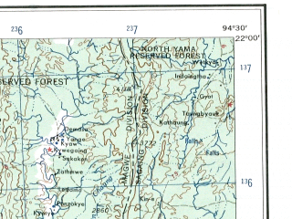 Reduced fragment of topographic map en--ams--250k--nf46-11--(1956)--N022-00_E093-00--N021-00_E094-30; towns and cities Ngabyin, Ainggyi, Paihang