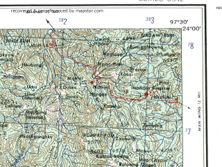 Reduced fragment of topographic map en--ams--250k--nf47-01--(1956)--N024-00_E096-00--N023-00_E097-30; towns and cities Sikaw, Chaungwa, Thabyetha