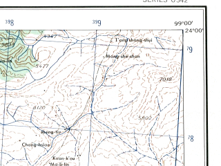 Reduced fragment of topographic map en--ams--250k--nf47-02--(1956)--N024-00_E097-30--N023-00_E099-00 in area of Salween; towns and cities Se-nu, Mong Yang, Na-ti