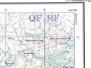 Reduced fragment of topographic map en--ams--250k--nf47-08--(1956)--N023-00_E100-30--N022-00_E102-00; towns and cities Ban Hoi Va, Chu-peng-chai, Feng-po