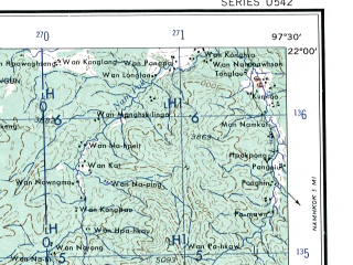 Reduced fragment of topographic map en--ams--250k--nf47-09--(1956)--N022-00_E096-00--N021-00_E097-30; towns and cities Mandalay, Tonglau, Natawng Hsit, Indaw