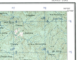 Reduced fragment of topographic map en--ams--250k--nf47-10--(1956)--N022-00_E097-30--N021-00_E099-00; towns and cities Keng Lon, Nawngho, Nawngkaw