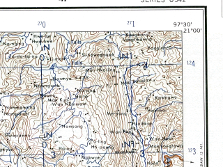 Reduced fragment of topographic map en--ams--250k--nf47-13--(1956)--N021-00_E096-00--N020-00_E097-30; towns and cities Hlaingdet, Samka, Kolon