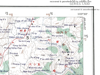 Reduced fragment of topographic map en--ams--250k--nf48-01--(1956)--N024-00_E102-00--N023-00_E103-30 in area of Yitong Lake; towns and cities Miandian, Niujie, Daqiao