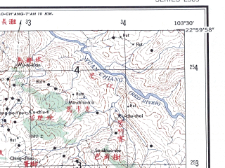 Reduced fragment of topographic map en--ams--250k--nf48-05--(1956)--N023-00_E102-00--N022-00_E103-30; towns and cities Giang Muang Pho, Hoang Lao Sene, Ban Cheng Nuoi