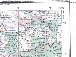 Reduced fragment of topographic map en--ams--250k--nf48-07--(1956)--N023-00_E105-00--N022-00_E106-30; towns and cities Con Houa, Dai Thi, Nam Lang