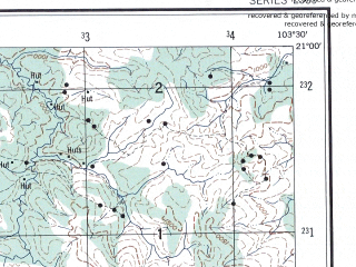 Reduced fragment of topographic map en--ams--250k--nf48-13--(1956)--N021-00_E102-00--N020-00_E103-30; towns and cities Ban Houali, Ban Ko Kieng, Muong Leo
