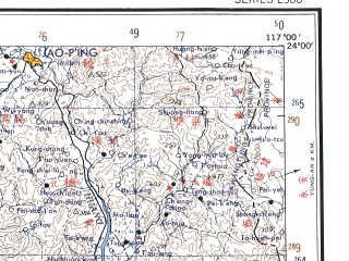 Reduced fragment of topographic map en--ams--250k--nf50-02--(1956)--N024-00_E115-30--N023-00_E117-00 in area of Han Jiang; towns and cities Shantou, Fenghuang, Pingzhai, Xiabao