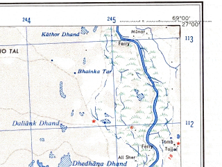 Reduced fragment of topographic map en--ams--250k--ng42-06--(1956)--N027-00_E067-30--N026-00_E069-00; towns and cities Shahpur Chakar, Khewari, Sinjhoro