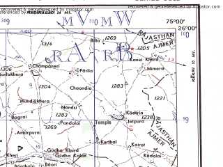 Reduced fragment of topographic map en--ams--250k--ng43-10--(1956)--N026-00_E073-30--N025-00_E075-00; towns and cities Karera, Amet, Kotri