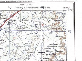 Reduced fragment of topographic map en--ams--250k--ng43-12--(1956)--N026-00_E076-30--N025-00_E078-00; towns and cities Baroda, Narwar, Barwan