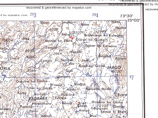 Reduced fragment of topographic map en--ams--250k--ng43-13--(1956)--N025-00_E072-00--N024-00_E073-30; towns and cities Revdar, Sarotra, Dhanera