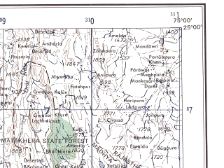 Reduced fragment of topographic map en--ams--250k--ng43-14--(1956)--N025-00_E073-30--N024-00_E075-00; towns and cities Salumbar, Dariawad, Sunwar