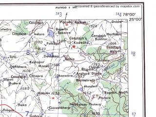 Reduced fragment of topographic map en--ams--250k--ng43-16--(1956)--N025-00_E076-30--N024-00_E078-00; towns and cities Piprai, Isagarh, Rajpur