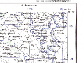 Reduced fragment of topographic map en--ams--250k--ng44-01--(1956)--N028-00_E078-00--N027-00_E079-30; towns and cities Itimadpur, Muhammadabad, Awa