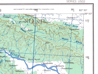 Reduced fragment of topographic map en--ams--250k--ng44-03--(1956)--N028-00_E081-00--N027-00_E082-30; towns and cities Raniganj, Dhaurdha, Saban Jot