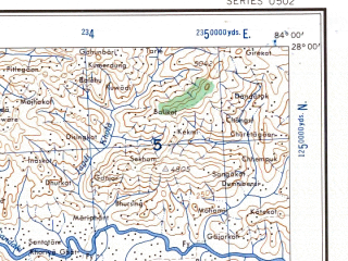 Reduced fragment of topographic map en--ams--250k--ng44-04--(1956)--N028-00_E082-30--N027-00_E084-00; towns and cities Rudhauli, Butwal, Domariaganj