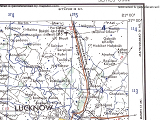 Reduced fragment of topographic map en--ams--250k--ng44-06--(1956)--N027-00_E079-30--N026-00_E081-00; towns and cities Kanpur, Lucknow, Rura, Lalganj, Banthra