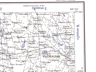 Reduced fragment of topographic map en--ams--250k--ng44-08--(1956)--N027-00_E082-30--N026-00_E084-00 in area of B Rapti; towns and cities Ramkola, Hata, Jalalpur