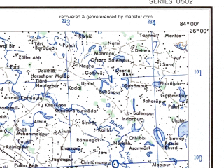 Reduced fragment of topographic map en--ams--250k--ng44-12--(1956)--N026-00_E082-30--N025-00_E084-00; towns and cities Buxar, Chainpur, Mubarakpur
