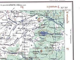 Reduced fragment of topographic map en--ams--250k--ng44-15--(1956)--N025-00_E081-00--N024-00_E082-30; towns and cities Simaria, Govindgarh, Sohar
