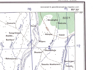 Reduced fragment of topographic map en--ams--250k--ng45-05--(1956)--N027-00_E084-00--N026-00_E085-30; towns and cities Deoria, Sikandarpur, Jaijar