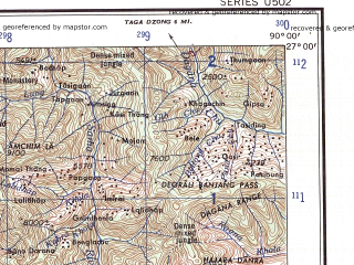Reduced fragment of topographic map en--ams--250k--ng45-08--(1956)--N027-00_E088-30--N026-00_E090-00; towns and cities Maraghat, Matabhanga, Domar