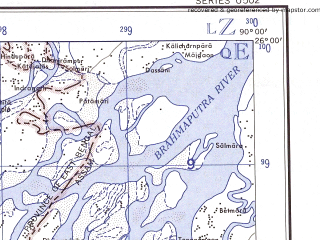 Reduced fragment of topographic map en--ams--250k--ng45-12--(1956)--N026-00_E088-30--N025-00_E090-00 in area of Atrai; towns and cities Ulipur, Manikarchar, Badarganj