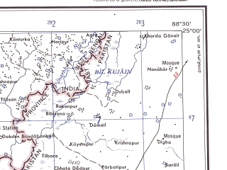 Reduced fragment of topographic map en--ams--250k--ng45-15--(1956)--N025-00_E087-00--N024-00_E088-30 in area of Bhagirathi; towns and cities Amrapara, Nasipur, Godagori