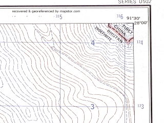 Reduced fragment of topographic map en--ams--250k--ng46-01--(1956)--N028-00_E090-00--N027-00_E091-30; towns and cities Lhuntsi Dzong, Thebong, Thunkar