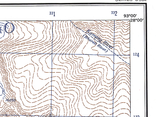 Reduced fragment of topographic map en--ams--250k--ng46-02--(1956)--N028-00_E091-30--N027-00_E093-00; towns and cities Kalaktang, Nashir, Norang