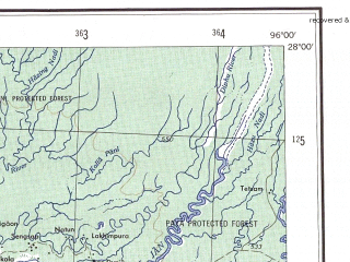 Reduced fragment of topographic map en--ams--250k--ng46-04--(1956)--N028-00_E094-30--N027-00_E096-00; towns and cities Jaipur, Linkhapani, Nakapur