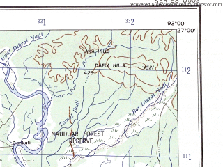 Reduced fragment of topographic map en--ams--250k--ng46-06--(1956)--N027-00_E091-30--N026-00_E093-00; towns and cities Daranga, Dhing, Paschim Naokota