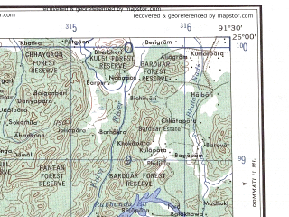 Reduced fragment of topographic map en--ams--250k--ng46-09--(1956)--N026-00_E090-00--N025-00_E091-30; towns and cities Nongstoin, Phulbari, Bagadol