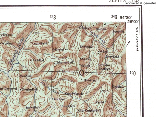 Reduced fragment of topographic map en--ams--250k--ng46-11--(1956)--N026-00_E093-00--N025-00_E094-30; towns and cities Bara Digar, Thingje, Chashinya